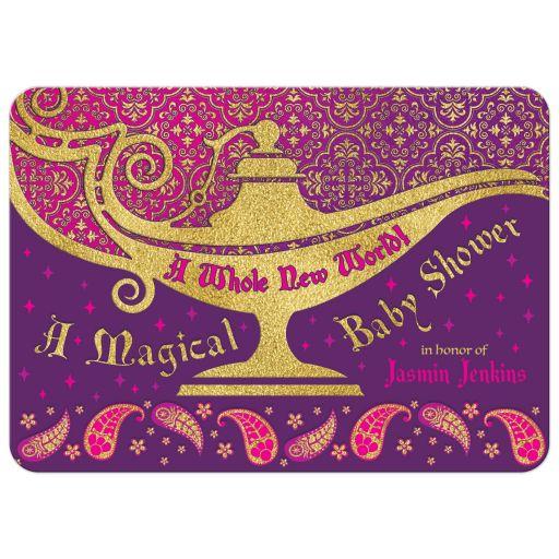 Unique Arabian Nights Aladdin magic genie lamp fairy tale baby shower invitation front