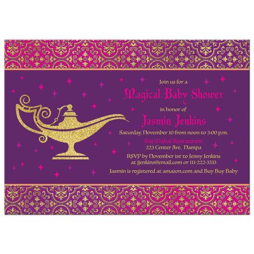 Unique Arabian Nights Aladdin magic genie lamp fairy tale baby shower invitation back