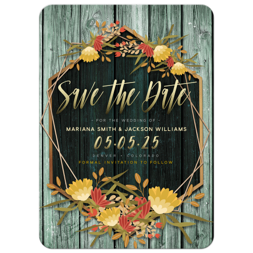Floral Rustic Geometric Frame Save the Date