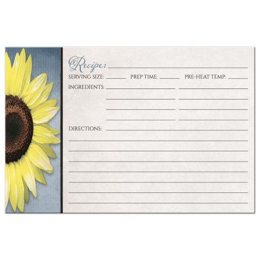 Recipe Cards - Rustic Sunflower Blue Beige