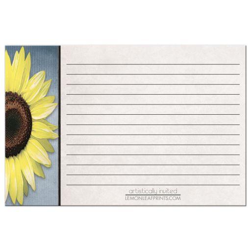Recipe Cards - Rustic Sunflower Blue Beige BACK SIDE