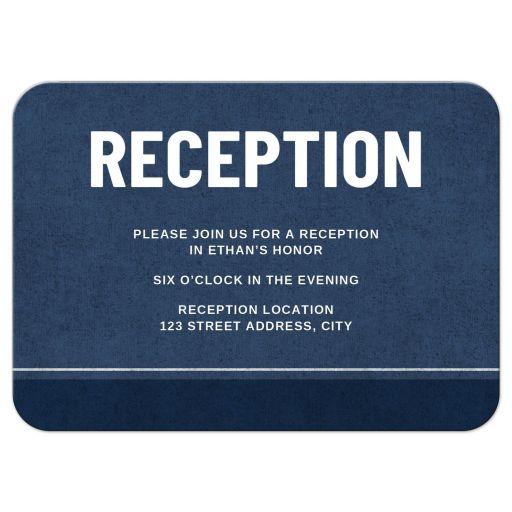 Dark blue bar mitzvah reception cards with darker blue and white border