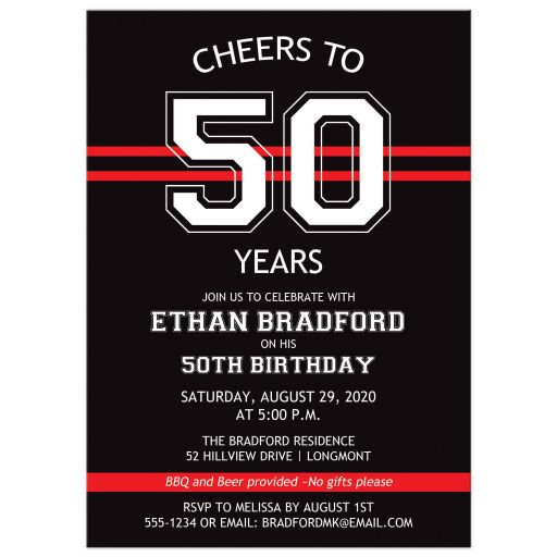 Black, red, white striped 50th birthday invitation for a man with a sports theme.