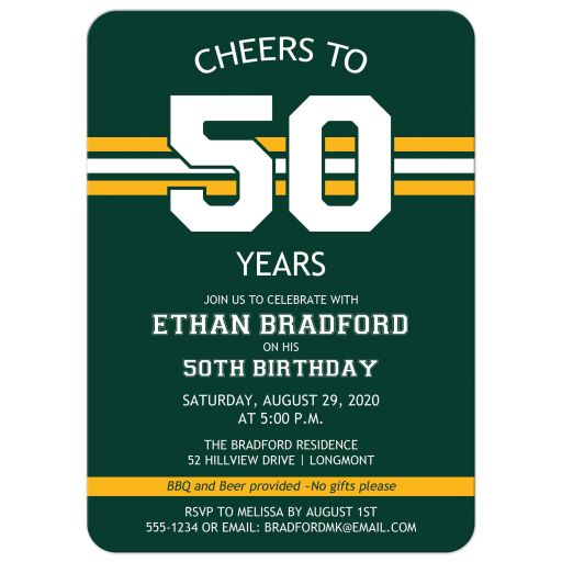 Green Bay Packers bay green, cheese gold, and white striped 50th birthday invitation for a man with a sports theme.