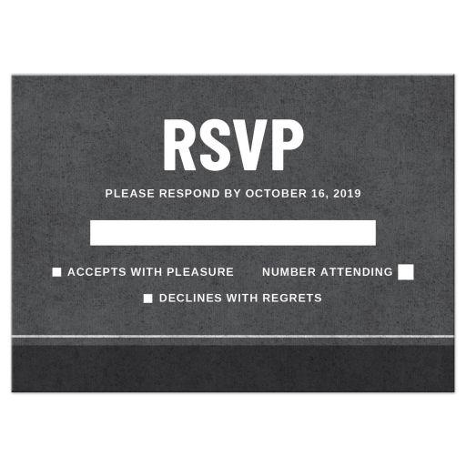 Modern, dark gray RSVP cards with rough background texture