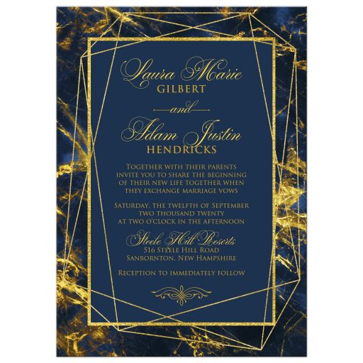 Navy blue, royal blue, and gold marble wedding invitation with gold geometric shape and photo template.