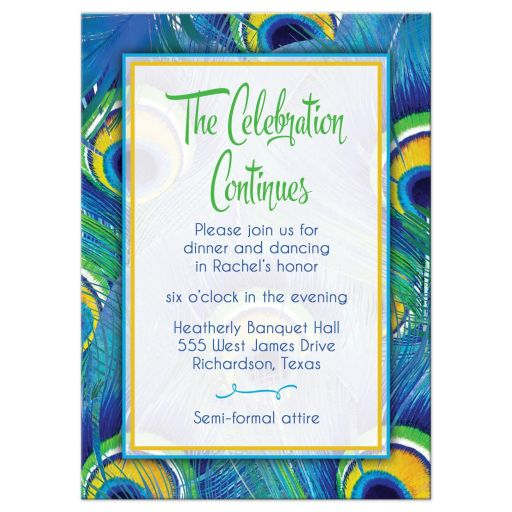 Bright blue, green, and yellow peacock feather Bat Mitzvah reception party insert card