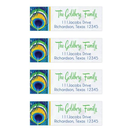 Bright blue, green, and yellow peacock feather Bat Mitzvah address labels