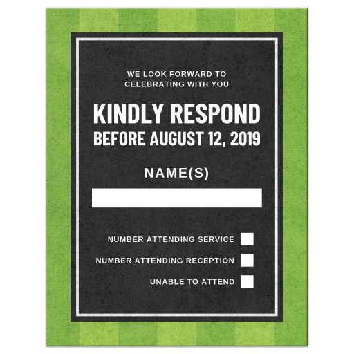 Baseball bar mitzvah RSVP card with dark silhouette
