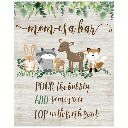 Woodland MomOsa Bar Printed Drinks sign