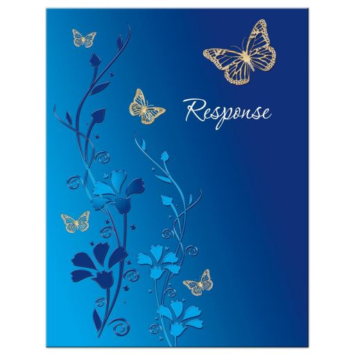 ​Royal Blue, teal blue and gold floral Bat Mitzvah response card with gold butterflies and turquoise flowers.