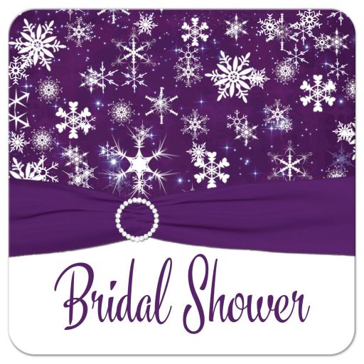 Purple and white snowflakes winter wedding bridal shower, couples shower, or wedding shower invitation with ribbon and jewel buckle brooch.