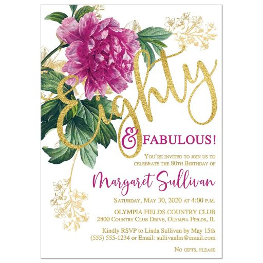 Eighty & Fabulous pink and purple peony flower 80th birthday invitation with gold foil and black background.
