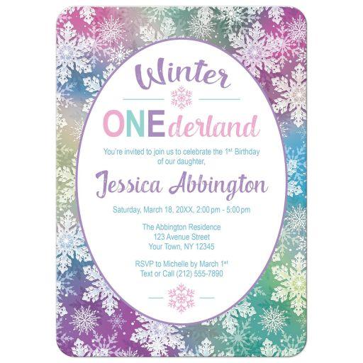 Winter Onederland Invitations - Rainbow Snowflake 1st Birthday