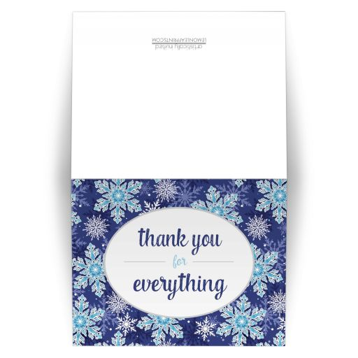 Thank You Cards - Navy Blue Snowflake
