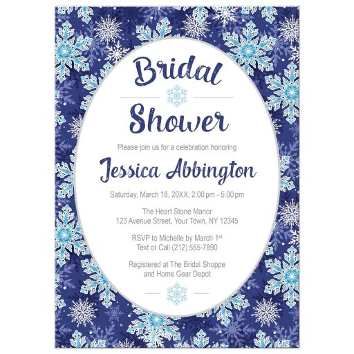 Bridal Shower Invitations - Navy Blue Snowflake