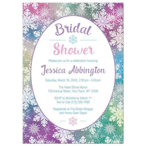Bridal Shower Invitations - Rainbow Snowflake