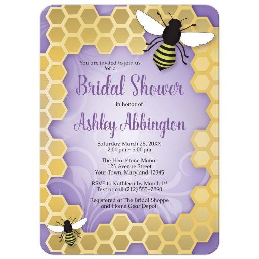 Bridal Shower Invitations - Purple Honeycomb Bee