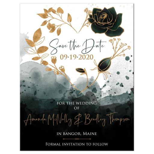 ​Green, gold, black, and white watercolor floral heart wreath wedding save the date card with photo template and roses.