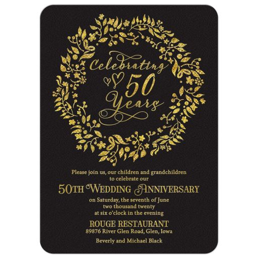 ​Elegant simulated gold and black celebrating 50 years 50th wedding anniversary invitation