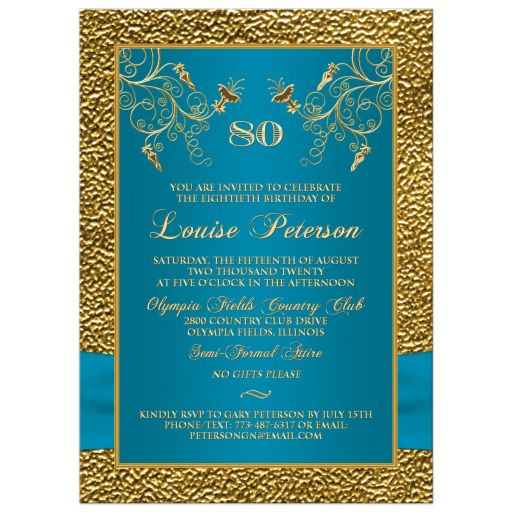 Turquoise blue and gold floral 80th milestone birthday invitate with photo template, teal ribbon, jewels, and gold Cross for a Christian or religious person.