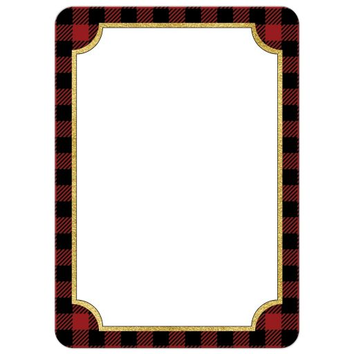 Red and Black Buffalo plaid check pattern Merry Christmas photo template Xmas or Holiday card with simulated gold foil.