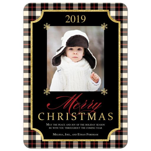 Ivory, black, and red plaid check pattern Merry Christmas photo template Xmas or Holiday card with simulated gold foil.