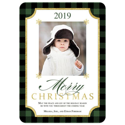 Rustic green ​and black Buffalo plaid check pattern Merry Christmas photo template Xmas or Holiday card with simulated gold foil.