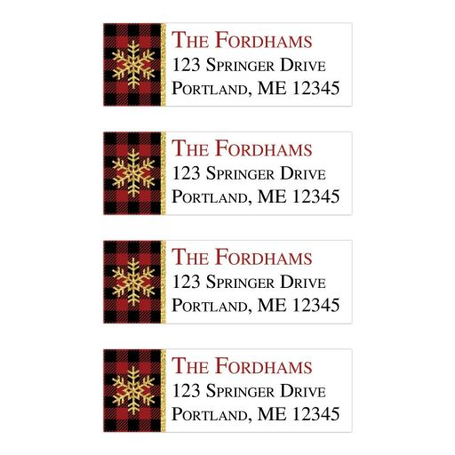 Rustic red, black, gold, and white Buffalo Plaid pattern return address mailing labels with a gold snowflake.