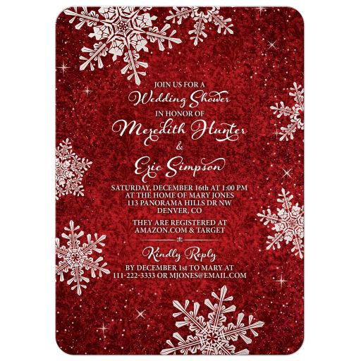 Red and white simulated velvet snowflake winter or Christmas holiday couple's shower invitation front