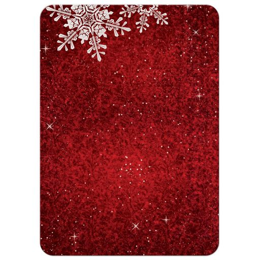 Red and white simulated velvet snowflake winter or Christmas holiday couple's shower invitation back