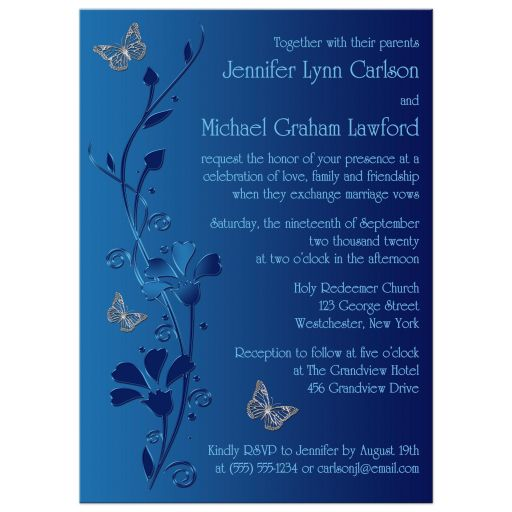 Modern royal blue and aqua blue floral wedding invitation with silver butterflies on it.