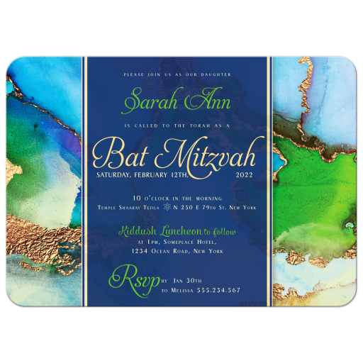 Blue Green Watercolor and Gold Bar Mitzvah