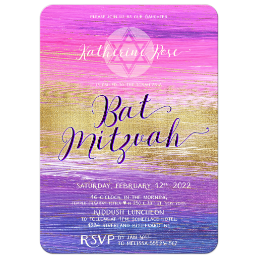 Purple Pink Ombre Gold Bat Mitzvah Invite