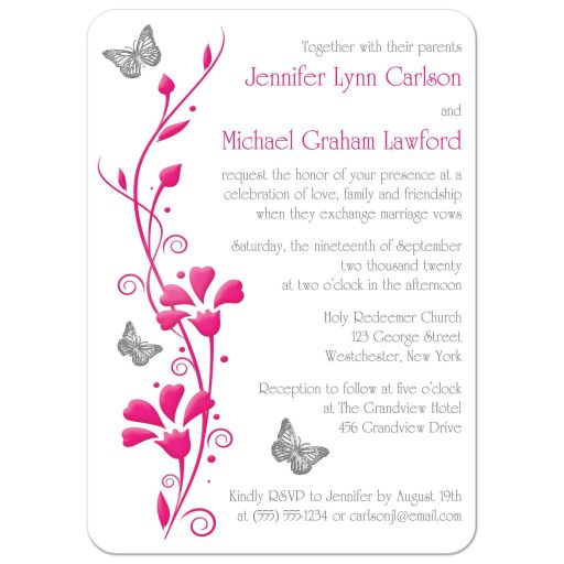 ​Modern white and hot fuchsia pink photo wedding invitation with flowers, vines, and silver butterflies on it.
