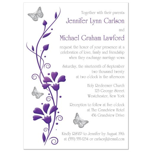 ​Modern white, purple, and gray photo wedding invitation with flowers, vines, and silver butterflies on it.