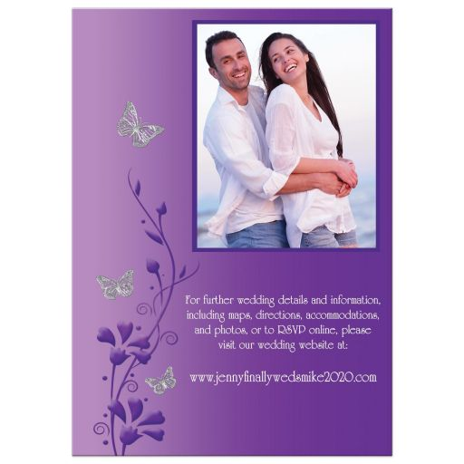​Modern white, purple, and grey photo wedding invites with flowers, vines, and silver butterflies on it.