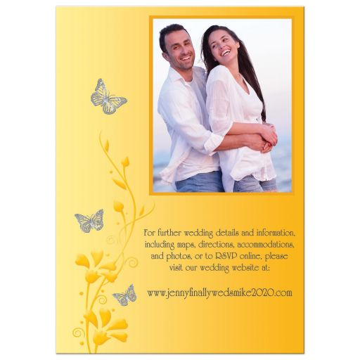 ​Modern yellow and charcoal gray photo wedding invites with flowers, vines, and silver butterflies on it.