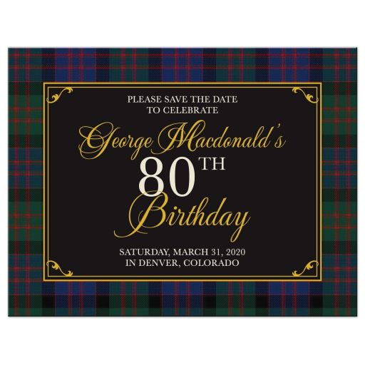 Scottish MacDonald tartan 80th birthday save the date postcard front