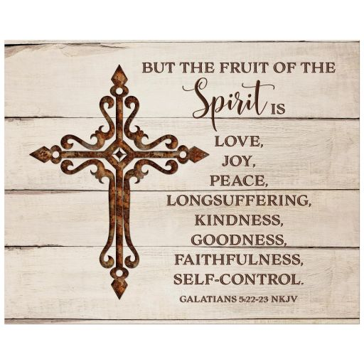 Rustic woodgrain Christian Iron Cross fruits of the Holy Spirit art print with the NKJV Bible verse from Galatians 5:22-23 on it: Love, Joy, Peace, Longsuffering, Kindness, Goodness, Faithfulness, and Self-control.