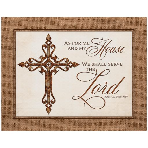 """Rustic Christian Iron Cross art print with burlap border and Bible verse from Joshua 24:15 that says: """"As For Me and My House We Shall Serve the Lord"""" on it."""
