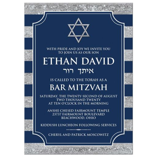 Traditional navy blue and grey striped Bar Mitzvah invitation with Hebrew name and Jewish Star of David.