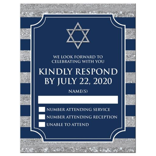 Modern navy blue and gray stripes Bar Mitzvah RSVP card with Jewish Star of David.