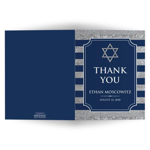 Personalized navy blue and silver striped Bar Mitzvah thank you cards with grey gray Jewish Star of David.