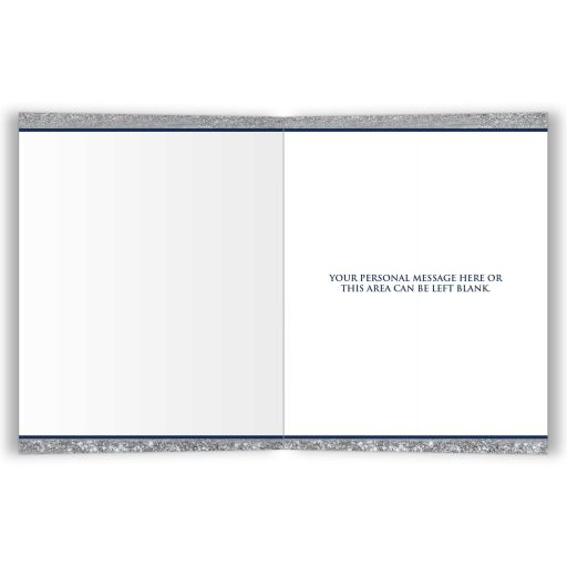 Personalized navy blue and silver stripes Bar Mitzvah thank you card with grey Jewish Star of David.