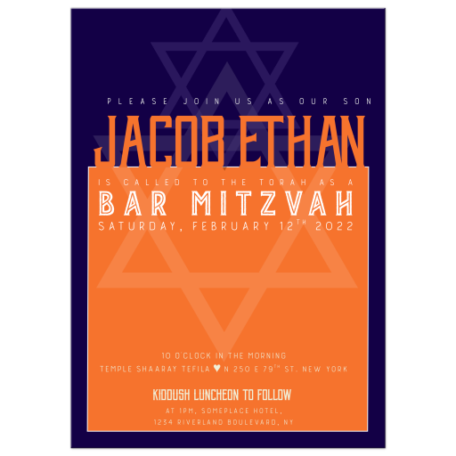 Star of David Geometry design Bar Mitzvah Invitation
