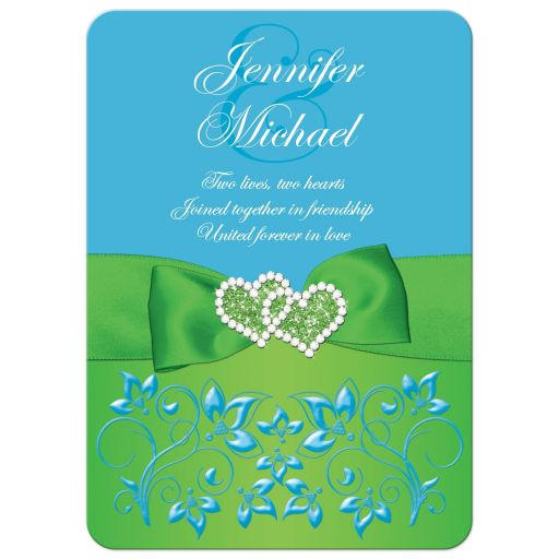 Malibu blue, lime green, and white wedding invitation with flowers, ribbon, bow, jewels, glitter, joined hearts, scrolls and romantic verse.