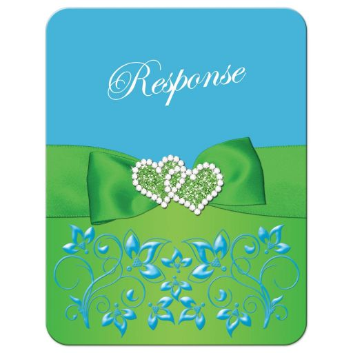 Malibu blue, lime green, and white wedding RSVP enclosure cards with flowers, ribbon, bow, jewels, glitter, joined hearts, and ornate scrolls.