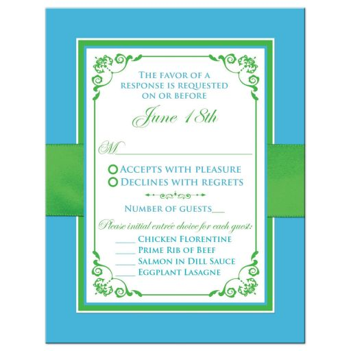 Malibu blue, lime green, and white wedding response enclosure card insert with flowers, ribbon, bow, jewels, glitter, joined hearts, and ornate scrolls.
