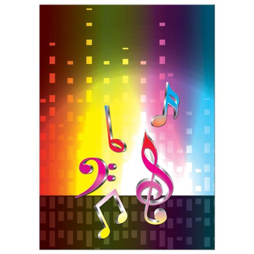 Unique light spectrum, heartbeat and music notes music Bar Mitzvah invitation or music Bat Mitzvah invitation back